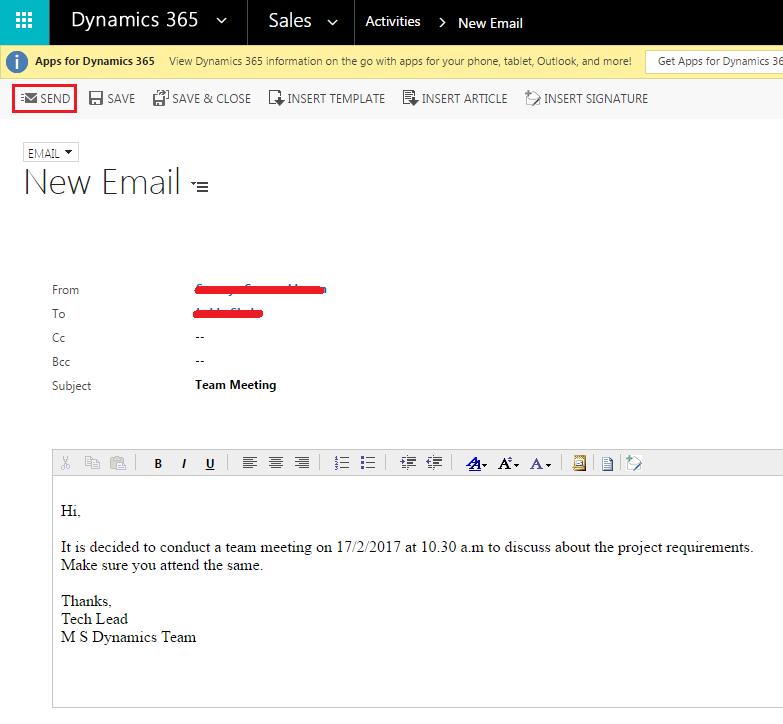 MS dynamics mails